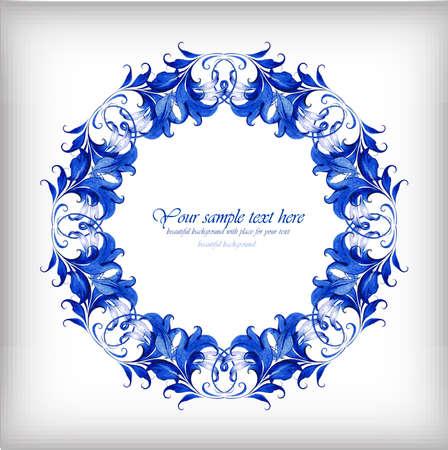 gzhel: Watercolor blue vector background. Gzhel detailsŒ