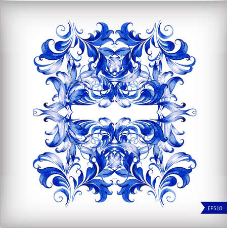 Watercolor blue vector background.Gzhel details.Vector illustrationÂŒ