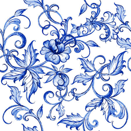 flower white: Vector floral watercolor texture pattern with flowers.Watercolor floral pattern.Blue flowers pattern.Seamless pattern can be used for wallpaper,pattern fills,web page background,surface textures