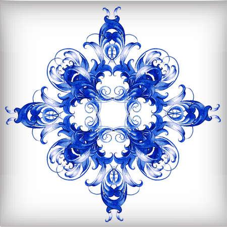 Watercolor blue vector background.Gzhel detailsÂŒ