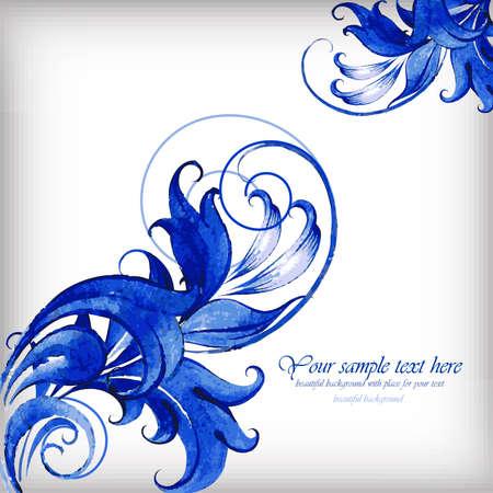 gzhel: Watercolor blue abstract vector background. Gzhel detailsÂŒ