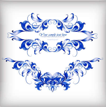 Watercolor blue vector background.ÂŒ