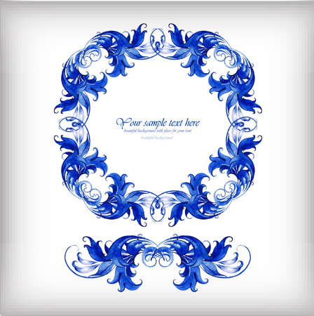 Watercolor blue vector background. Blue watercolor frame
