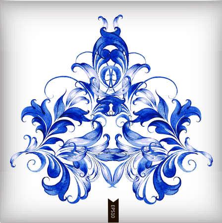 Watercolor blue vector background.Œ