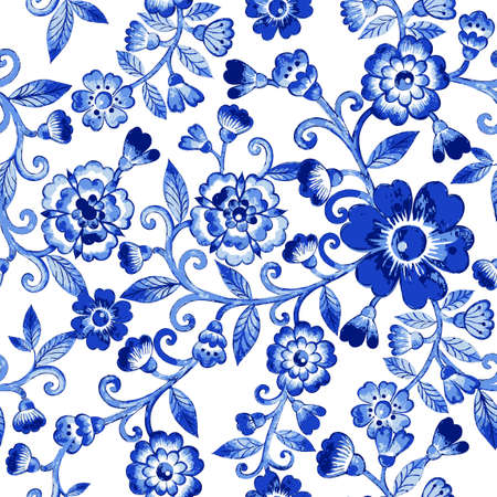 Vector floral watercolor texture pattern with blue flowers.Watercolor floral pattern.Blue flowers pattern.Seamless pattern can be used for wallpaper,pattern fills,web page background,surface textures Illustration