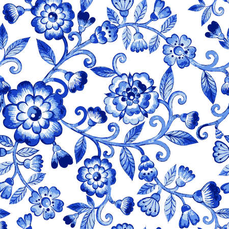 Vector floral watercolor texture pattern with blue flowers.Watercolor floral pattern.Blue flowers pattern.Seamless pattern can be used for wallpaper,pattern fills,web page background,surface textures  イラスト・ベクター素材