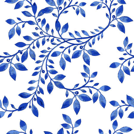 Vector floral watercolor texture pattern with blue flowers.Watercolor floral pattern.Blue flowers pattern.Seamless pattern can be used for wallpaper,pattern fills,web page background,surface textures Stock Illustratie