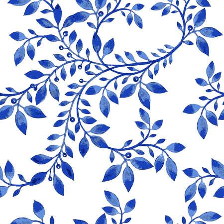 Vector el modelo floral de la acuarela con textura azul flowers.Watercolor floral flores pattern.Blue pattern.Seamless patrón puede ser utilizado para el papel pintado, patrones de relleno, de fondo página web de texturas de superficie Ilustración de vector
