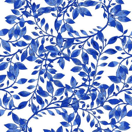 Vector bloemen aquarel textuur patroon met blauwe bloemen flowers.Watercolor pattern.Blue bloemen pattern.Seamless patroon kan worden gebruikt voor behang, patroonvullingen, webpagina achtergrond, oppervlaktestructuren Vector Illustratie