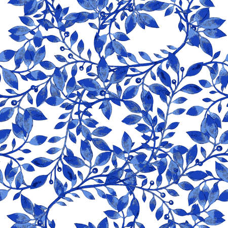 Vector floral watercolor texture pattern with blue flowers.Watercolor floral pattern.Blue flowers pattern.Seamless pattern can be used for wallpaper,pattern fills,web page background,surface textures Vettoriali