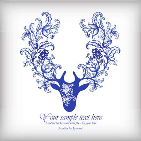 Watercolor blue vector deer with antlers .Vintage elements