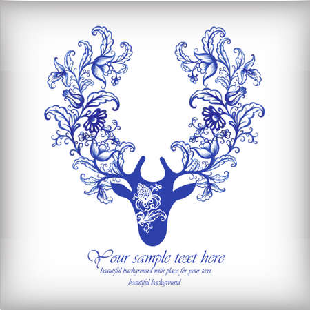 Watercolor blue vector deer with antlers .Vintage elements