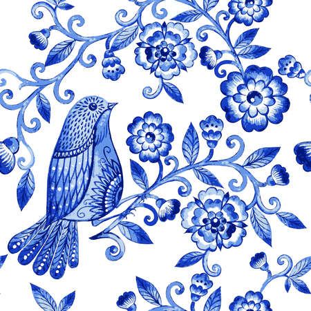 Vector floral watercolor texture pattern with blue flowers and birds.Watercolor blue floral pattern.Seamless pattern can be used for wallpaper,pattern fills,web page background,surface textures