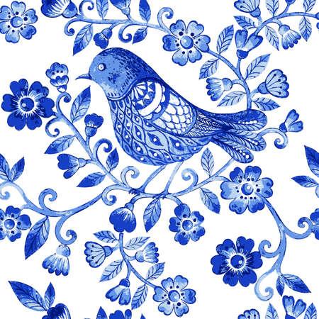 Vector bloemen aquarel textuur patroon met blauwe bloemen en birds.Watercolor blauwe bloemen pattern.Seamless patroon kan worden gebruikt voor behang, patroonvullingen, webpagina achtergrond, oppervlaktestructuren