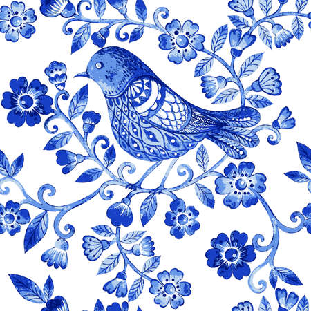 birds: Vector floral watercolor texture pattern with blue flowers and birds.Watercolor blue floral pattern.Seamless pattern can be used for wallpaper,pattern fills,web page background,surface textures