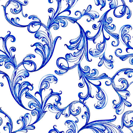 Blue floral watercolor texture pattern with flowers. Vettoriali