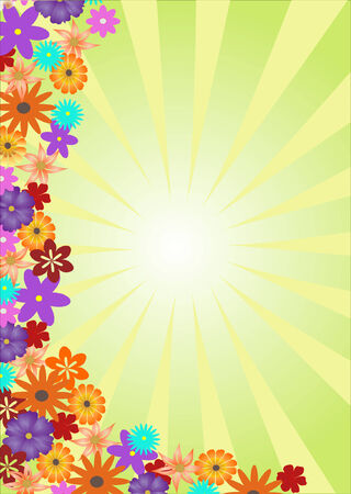 background with sunlight and flowers