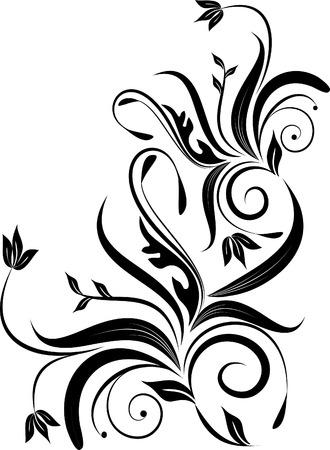 esquineros de flores: floral silueta