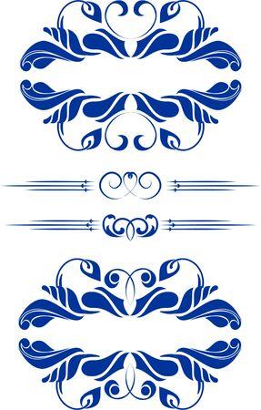 vectorized: set of design elements in vintage style vectorized  Illustration
