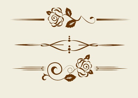 fretwork: set of vintage design elements with roses Illustration