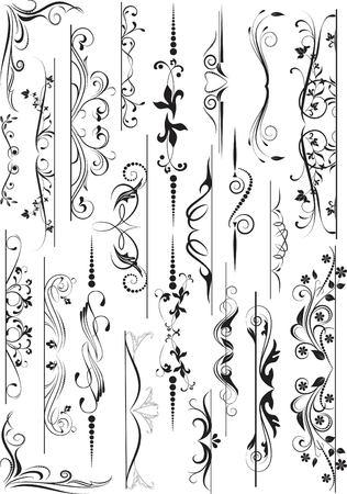 scroll design: set of design elements in vintage style vectorized  Illustration