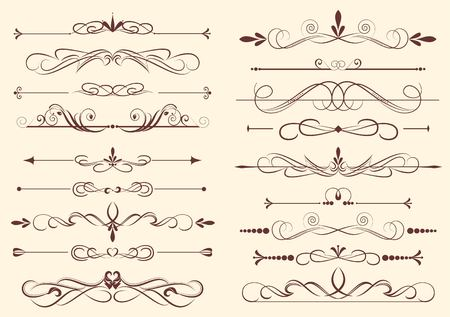 set of design elements in vintage style vectorized Vector