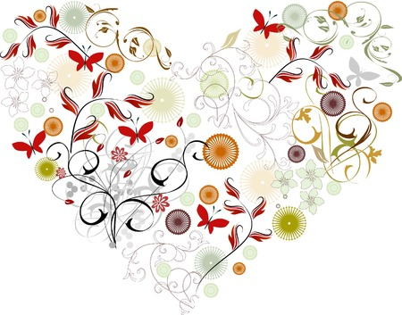 vectorized: Greeting card vectorized - heart & flower Illustration