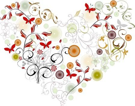 vectorized: Tarjeta de felicitaci�n vectorizada - coraz�n & flores
