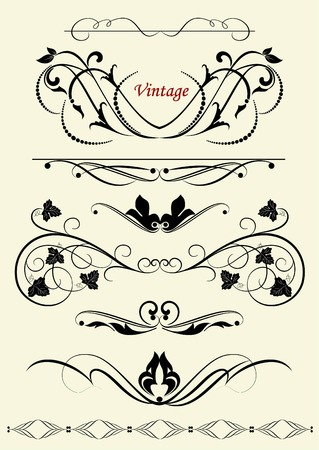 heading: set of design elements in vintage style vectorized Illustration
