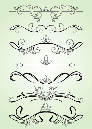 ornamented: set of design elements in vintage style vectorized Illustration