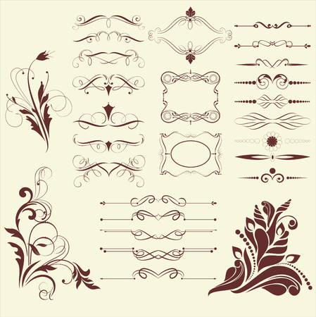 fretwork: set of design elements in vintage style vectorized Illustration