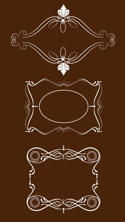 three decorative frames in vintage style vectorized Vector