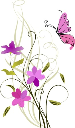 fortune flower: greeting card with flowers and butterfly Illustration
