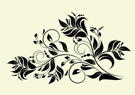 swirl floral: decorative branch vectorized