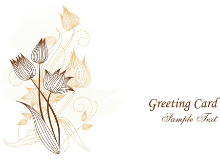 greeting card with flowers illustration Vector