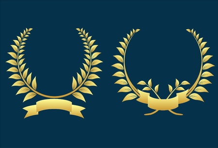 laurel leaf: two gold laurel wreaths