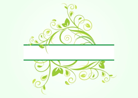 green floral banner for text Stock Vector - 10843497
