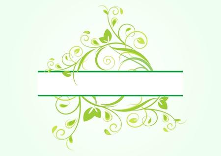 green floral banner for text Vektorové ilustrace