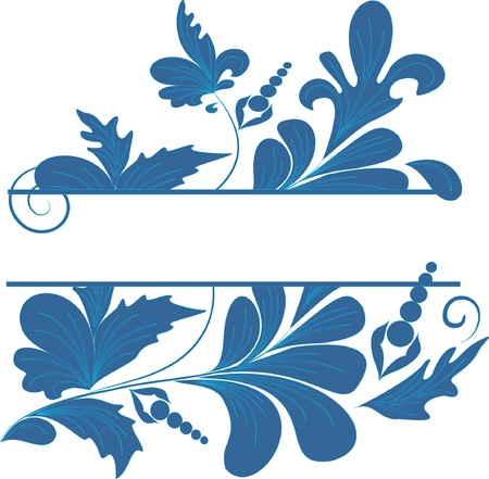 blue  floral banner for text Stock Vector - 10843496