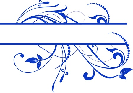 blue  floral banner for text Vector