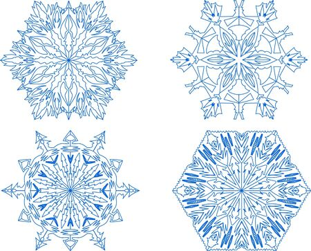 set of decorative snowflakes Vector