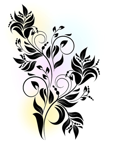 decorative branch with shadow Stock Vector - 11345245