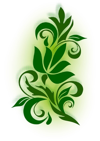 corner design: decorative branch with shadow