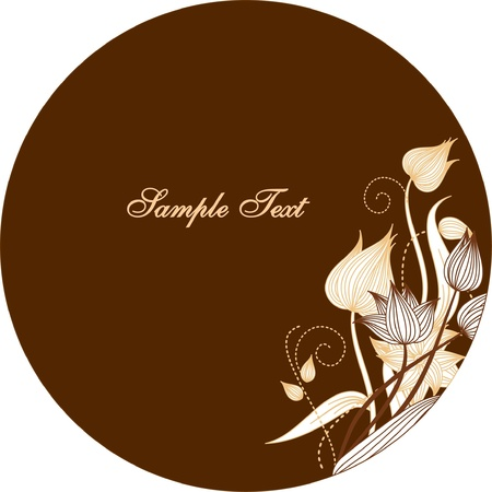 smart oval frame with floral elements Vector