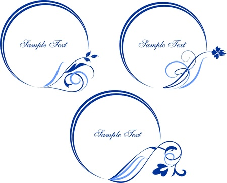 set of smart oval frames with floral elements Vector