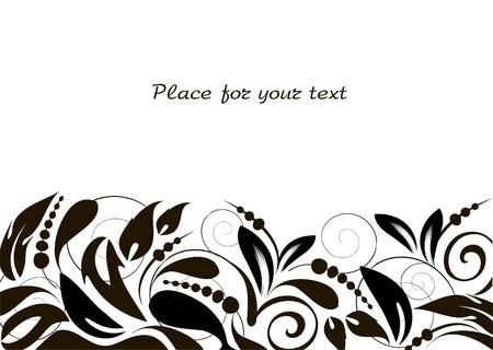 zwart wit tekening: florale achtergrond met decoratieve tak