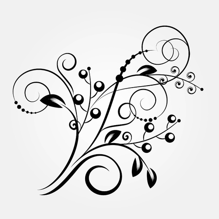 embroidery designs: Decorative branch - element for design in vintage style Illustration