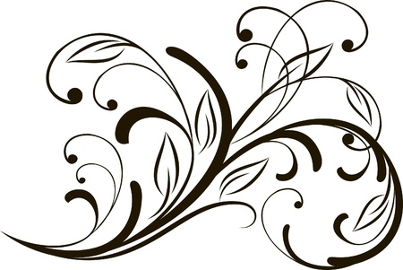 floral scroll: decorative branch in vintage styled for design