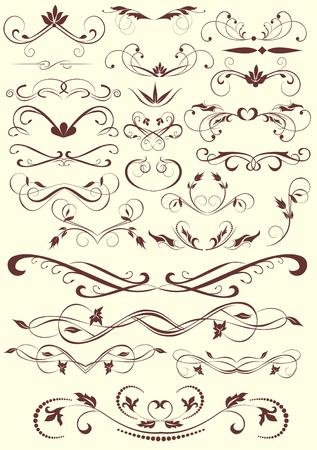 Éléments de design et de décoration calligraphiques la page