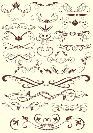Calligraphic design elements and page decoration  Illustration